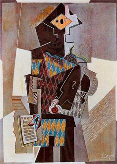 Harlequin with violin - Pablo Picasso Pablo Picasso, Picasso Cubism, Picasso Paintings, Cubism Art, Modern Painting, Henri Matisse, Cleveland Museum Of Art, Pierrot, Cubist Movement