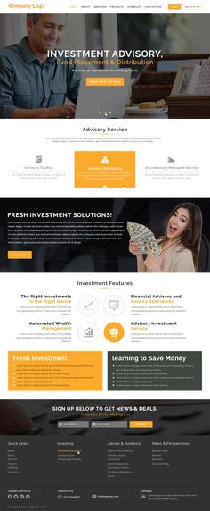 ----- Investment Company Website Templates ----- This highly customizable business template can be used in many business verticals including accounting, advertising, banking, consulting, insurance, etc with little modification.