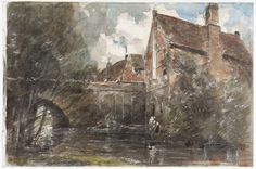 Old Houses at Harnham Bridge, Salisbury, John Constable, 1821
