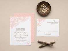 Pink Peony Wedding Invitation, Romantic Wedding Invitations - Flat Print Invite Set - Swoon DEPOSIT