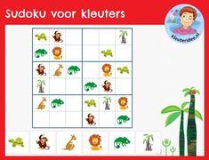 Sudoku voor kleuters, kleuteridee, interactief spel rekenen digibord 3 21st Century Skills, Jungle Safari, Detective, School, Kids, Art, Animales, Africa, Young Children