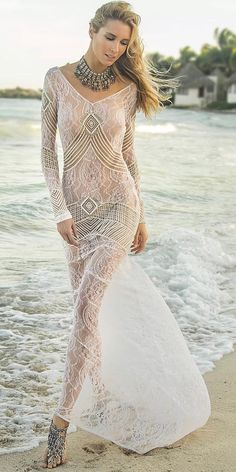 15 Fantastic Lace Beach Wedding Dresses ❤ lace beach wedding dresses sheath nude with long sleeves boho island tribe ❤ Full gallery: https://weddingdressesguide.com/lace-beach-wedding-dresses/ #bride #wedding #bridalgown