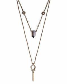 Bastia Necklace   crystal key layered pendant