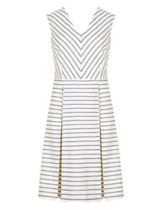 Buy the Linen Blend Striped Skater Dress from Marks and Spencer's range. Striped Bridesmaid Dresses, White Skater Dresses, Striped Dress, White Dress, Work Attire, Stylish Dresses, Work Wear, Dresser, Polyvore