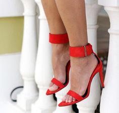 Rihanna Patent Leather Ankle Strap Stiletto Heel Open Toe Strappy ...