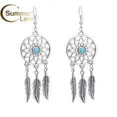 Dream Catcher Earrings Silver-Plated