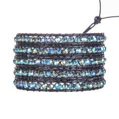Deep Green Beads on Black wrap bracelet ... and affordable!