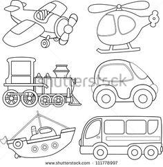Cartoon transport. Coloring book.