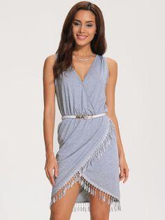 Grey V Neck Sleeveless Tassel Trimmed Chic Petites Dress