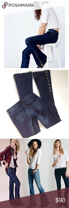 """Free People Skinny Flares Pre-owned. Perfect condition, VERY gently used. Easily wearable and fashionable. They give you a longer, leaner look with stretch. Unique tailored seamed flares, buttons down ankle. 2 front & 2 back functional pockets. Love the Sexy Moro look at the knee. Sold out quickly, very unique.   •Fit: 14.5"""" Waist• 17"""" Hips• 41.5"""" Long• 32.5"""" Inseam •Material: 71% Cotton• 28% Poly• 1% Span  Please use """"Self Checkout"""" if you aren't an Established Customer. Thank You 🙏🏼 Free…"""
