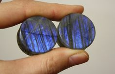 A nice set of deep blue striped labradorite plugs  1 25mm Overall width 14mm Wearable 9.5mm    These are handcrafted in our home studio.  Our wooden