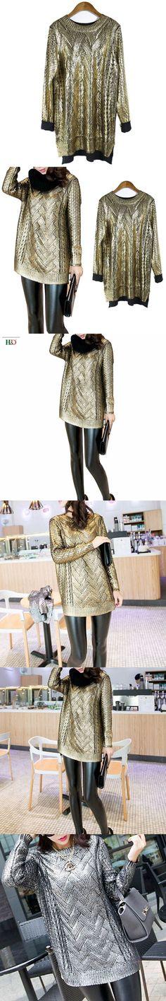 2018 Runway Brand Designer Sliver Gold Pullover Gold Silver Sweater Shiny Bronzing Glitter pant set Casual Outwear Feminina
