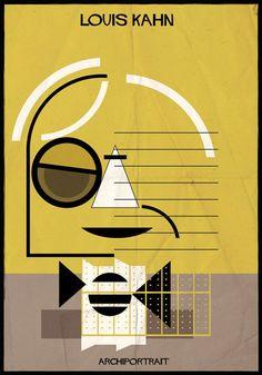 archiportrait Louis Kahn by Federico Babina Louis Kahn, Le Corbusier, Architecture Collage, Architecture Student, Architecture Design, Architecture Memes, Architecture Drawings, Zaha Hadid, Walter Gropius