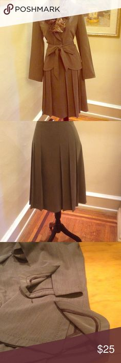"💖💖BEAUTIFUL SUIT FOR WORK OR PLAY💖💖 Many details. Top stretched front and sleeves.two slits on back of jacket. Soft pleats on skirt. 40"" bust, waist 34"" and from waist to hem 25"". Tie belt. Maybe olive color. Apostrophe Other"