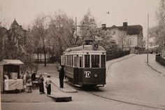 Raitiovaunun päätepysäkki Pasilassa Pasilankadun ja Kyllikinkadun risteyksessä, Helsinki 1950