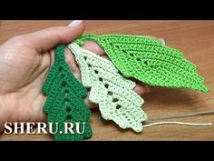 How To Crochet Two-Side Leaf With Chain Spaces In The Middle Tutorial Get the more patterns at . In this tutorial you will learn how to crochet a classic leaf with little chain spaces inside. This crochet leaf looks good by itself and can be a Crochet Leaf Patterns, Crochet Leaves, Crochet Motifs, Knitted Flowers, Freeform Crochet, Thread Crochet, Irish Crochet, Crochet Designs, Crochet Flower Tutorial