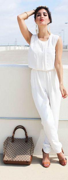 Madewell White Sleeveless Loose Jumpsuit