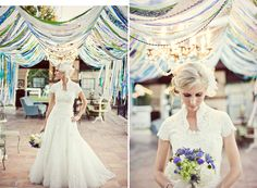Love the ribbons! Not to mention, her dress & bouquet are gorgeous.