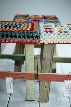 crochet granny square stool covers