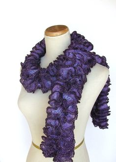 Purple Hand Knit Ruffled Scarf by ArlenesBoutique on Etsy, $45.00