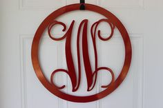 Metal- Door Monogram- Wall Hanging- Sign- Monogram- Monogrammed- Plasma Cut-  -Home Decor- Housewears- Monogram Wreath- Monogram Initials via Etsy