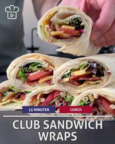 Non Sandwich Lunches, Club Sandwich Recipes, Wrap Recipes, Easy Dinner Recipes, Breakfast Recipes, Wrap Sandwiches, Sandwiches For Lunch, Healty Lunches, Yummy Snacks