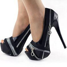 #Shoes - Show Story Punk Silver/Black Zip Peeptoe Platform High Heel Stiletto Pump,LF80836 List Price: $79.99 Sale: $34.99