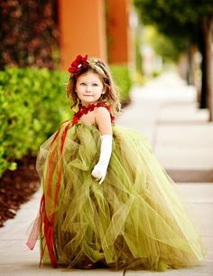 Vintage Green and Crimson Flower Girls Tutu Dress - your own little mermaid - perfect for a beach wedding!