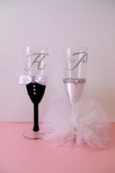 Svadbene čaše Hand Decorated Wedding Champagne Glasses