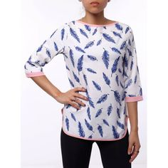 Refreshing 3/4 Sleeve Cut Out Leaf Printed Blouse For Women — 8.33 € Size: S Color: WHITE