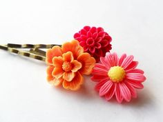 #pink and orange | Floral #Hair #Pin Set, #Pink,#Orange | Cute Hair accessory