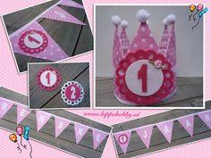 Birthday crown. First birthday. Dutch handmade. Handgemaakte en duurzame verjaardagskroon met bijpassende verjaardagsslinger! www.hippehobby.nl
