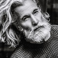 Mens Hairstyles With Beard, Haircuts For Men, Long Hair Male Model, Aiden Shaw, Beard Look, Grey Beards, Beard Model, Men With Grey Hair, Awesome Beards
