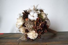 Sola Flower Bouquet autumn Wedding Bouquet pine cones and