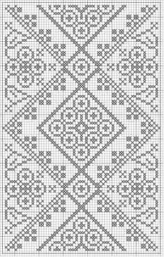 free crochet / cross stitch chart - looks like laceFree crochet chart could be cross stitch >>> Would be a very pretty double-sided knitting pattern! :) -- or in my case a dreamt of blackwork project.Free Filet Crochet Patterns - Crochet Favorites for Eve Filet Crochet Charts, Crochet Cross, Knitting Charts, Knitting Stitches, Free Crochet, Knitting Patterns, Crochet Patterns, Filet Pattern Crochet, Crochet Edgings