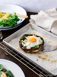 Egg, Salmon & Goat Cheese Baked Mushrooms
