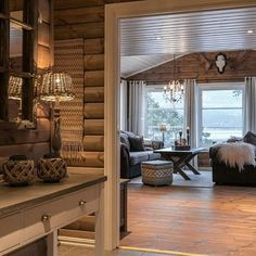 Familjestuga modell FH 145 Ocean of the Ocean! Love Home, My Dream Home, Log Cabin Kitchens, Energy Efficient Homes, Cabin Interiors, River House, Cottage Homes, House Ideas, Cabin Ideas