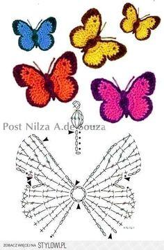 Stylowi.pl - Odkrywaj, kolekcjonuj, kupuj Papillon Crochet, Crochet Motif, Appliques Au Crochet, Crochet Flower Patterns, Fleur Crochet, Crochet Stitches Patterns, Easy Crochet, Crochet Gifts, Irish Crochet