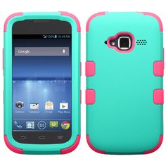 MYBAT TUFF Hybrid Case for ZTE Concord 2 II - Teal Green/Electric Pink