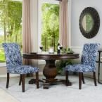 Berkley Blue and White Linen Tufted Dining Parsons Chair (Set of 2)