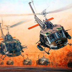 US Huey Attack Helicopters in Vietnam