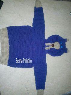 Blusa raposa azul crochê