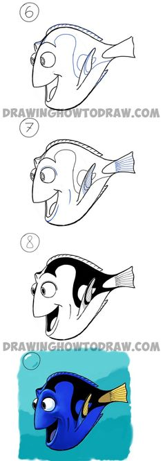 How to Draw Dory from Pixars Finding Nemo in Easy Steps Drawing Tutorial (Easy Drawing Step) Easy Disney Drawings, Cartoon Drawings Of Animals, Disney Princess Drawings, Easy Drawings, Drawing Disney, Cartoon Drawing Tutorial, Cartoon Girl Drawing, Drawing Tutorials, Drawing Ideas