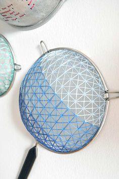 DIY Embroidered Strainer Art | Design*Sponge