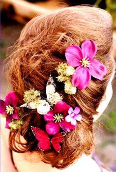 Bridesmaid's loose chignon bun bridal hair ideas Toni Kami Wedding Hairstyles ♥ ❶ Butterfly & flower crown corona halo