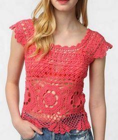 Blusa com manga em crochet - Claudineia Antunes