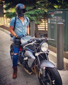 "Triumph Street Triple R 2013 headlight conversion #motodemic. Clip ons 2.5""riser from #woodcraft. Helmet #Simpsons bandit M30"