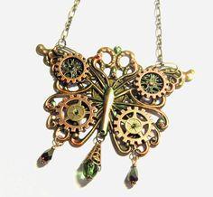 Steampunk Butterfly necklace clockwork by DarkenroseJewellery
