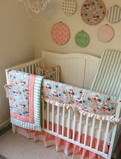 Peach C Black And Minty Sage Perless Crib Bedding Www Etsy Listing