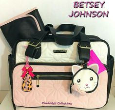a2a8f423b98a BETSEY JOHNSON Diaper Bag Baby Shower Black Pink Duffel Weekender Travel  Tote 762670384254